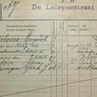 Detail uit het bevolkingsregister van een huis aan de De Lairessestraat te Amsterdam.