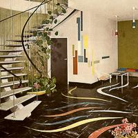 (eternietvloer in fabrieksgebouw van Eterniet in België gepubliceerd in: column Barbara Laan: First Floor no. 3 (2008), een uitgave van Forbo Flooring)